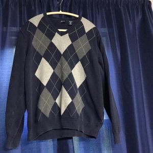 Men's Navy argyle sweater